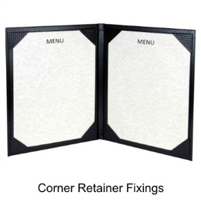 Corner retainer menu cover folder
