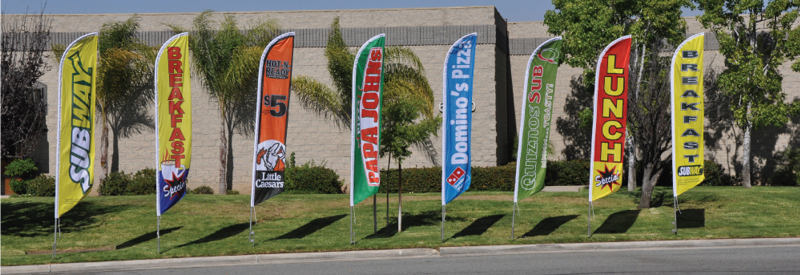 A line of feather banners to grab the attention of passing customers